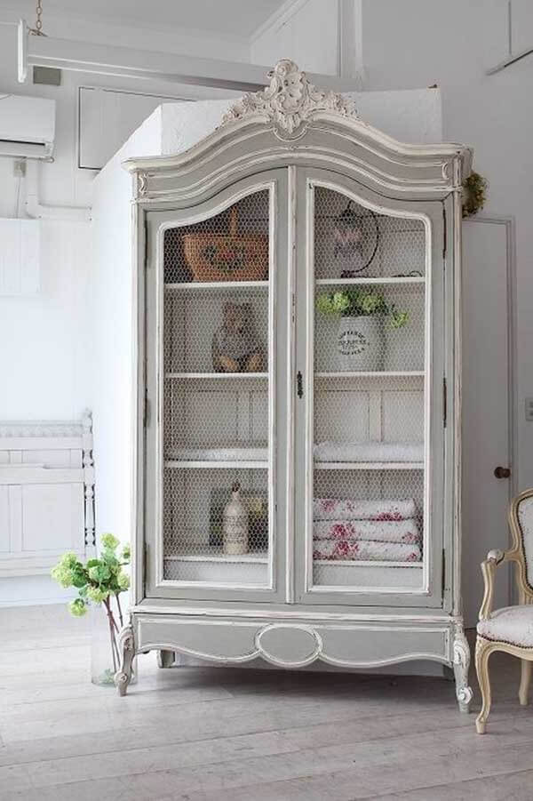 Painted and Antiqued Shabby Chic Armoire