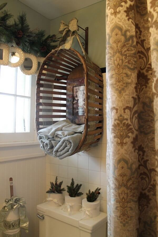 Western Wash Basket Hanging Towel Holder