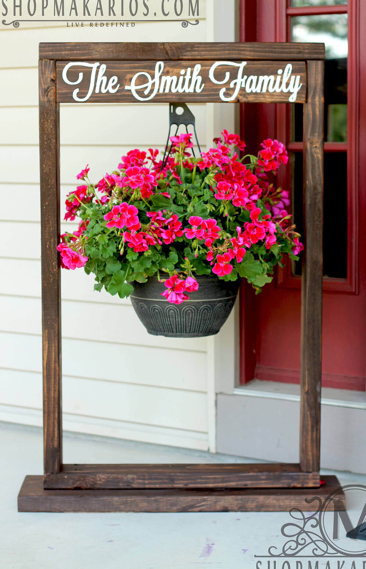 Wooden Entryway Sign and Hanging Flower Pot