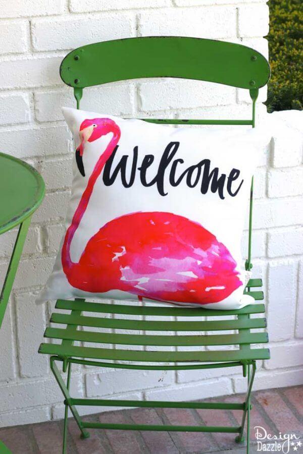 Nostalgic Pink Flamingo Outdoor Cushion