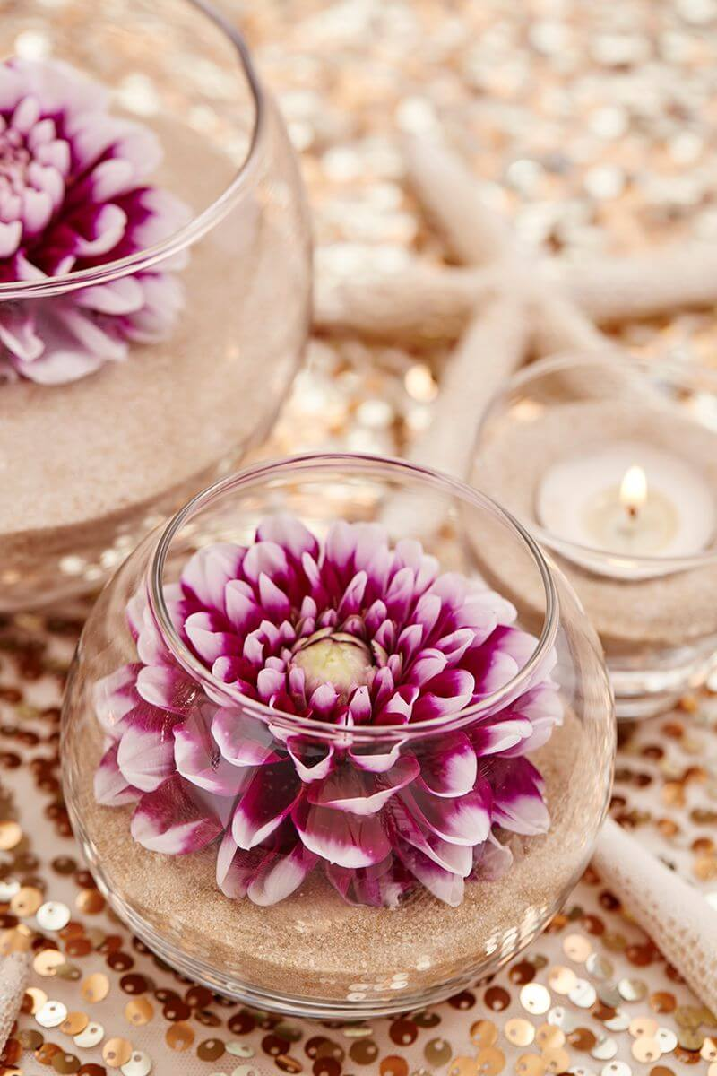 Perfectly Poised Dahlia Flower Bowls with Sand