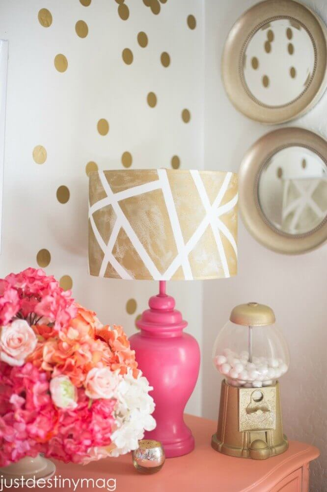 Masking Tape Color Blocks Lampshade