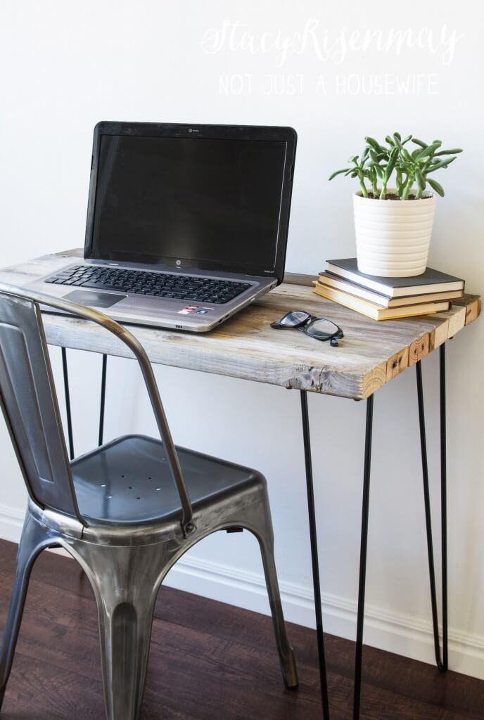 Simple Space Saver Wooden Desk