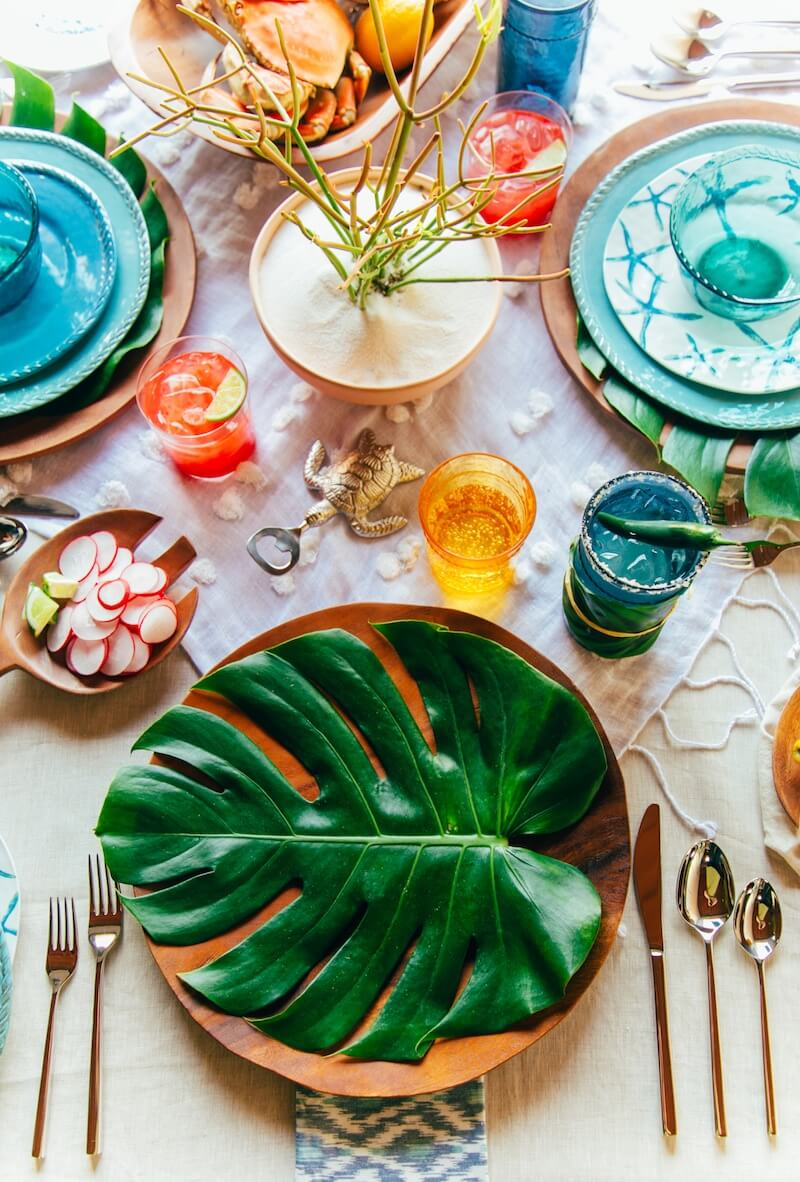 Tropical Island Themed Table Decor