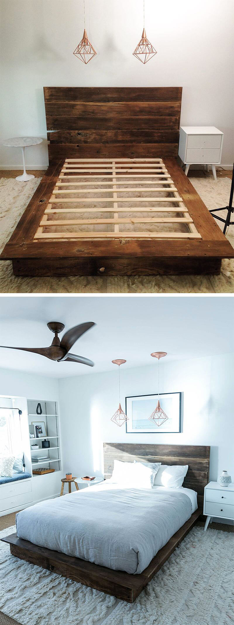 Pallet Style Mattress Frame and Earthy Wooden Headboard