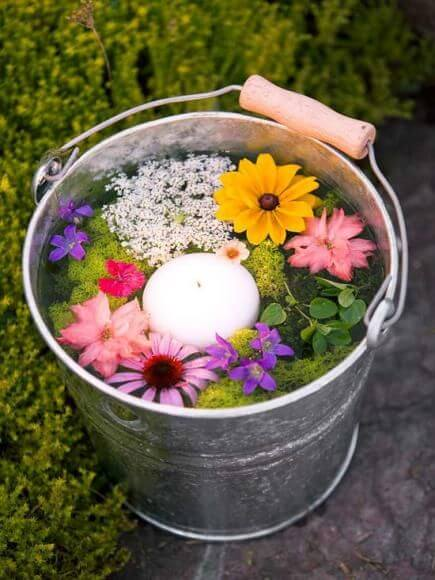 Illuminated Fairy Pond Pails with Floating Flower Garden