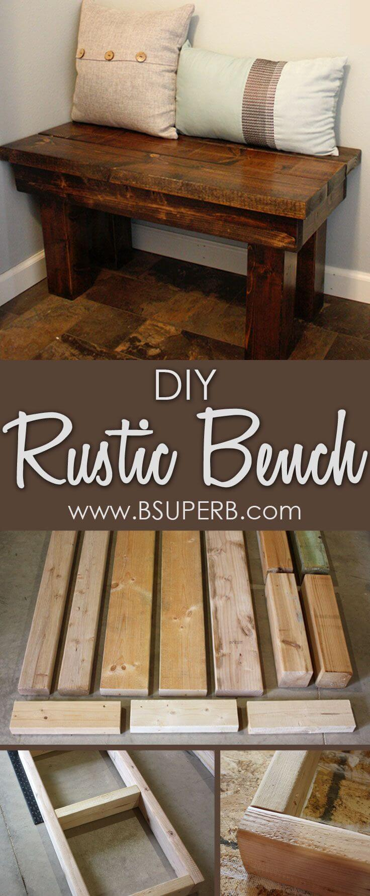 Easy Rustic Entryway Wooden Bench