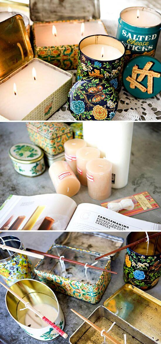 Repurposed Vintage Candle Tins