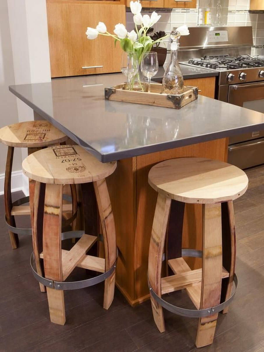 Stripped and Chic Barrel Bar Stools