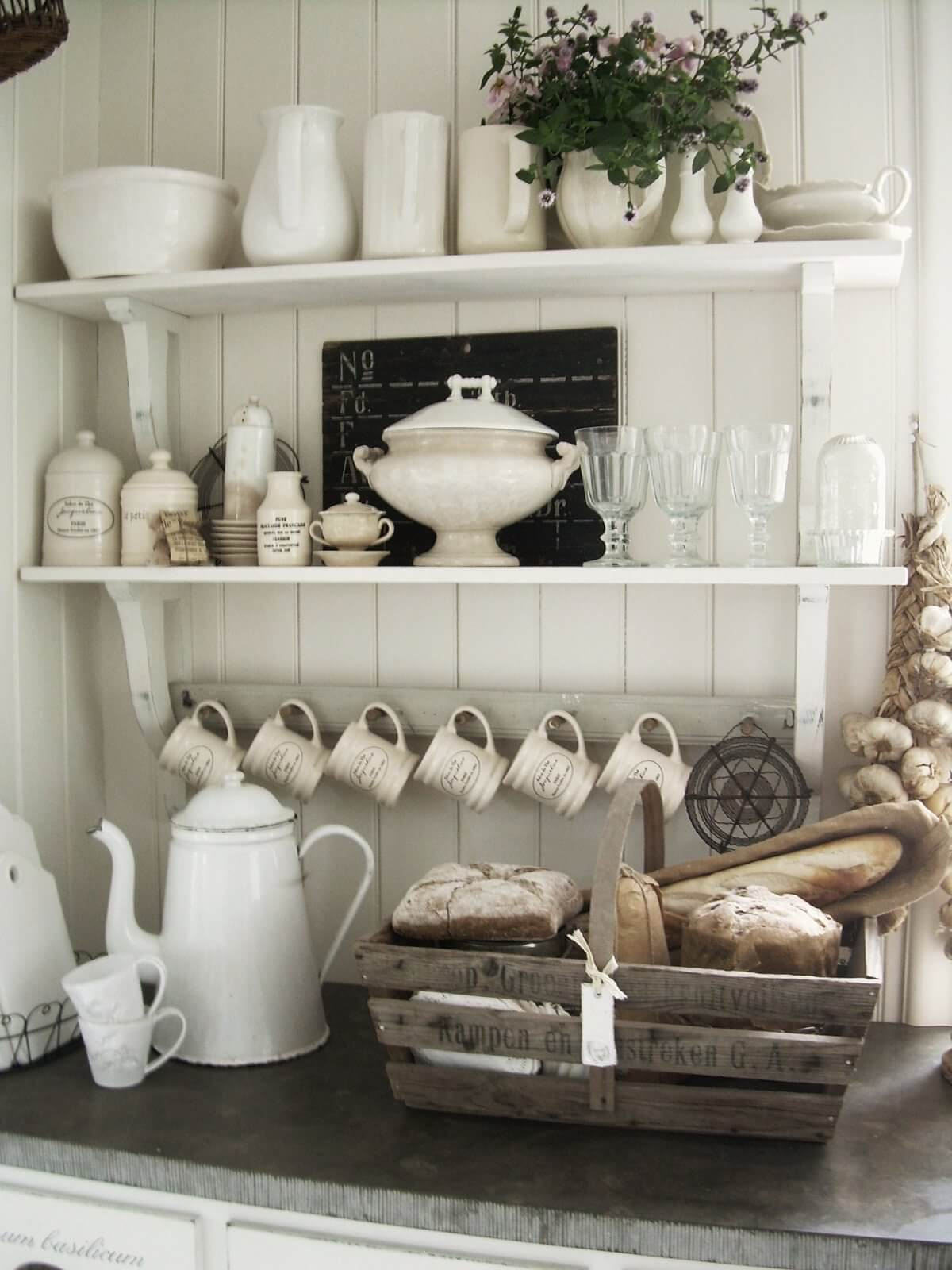 French Kitchen Exposed Shelving Crockery Display