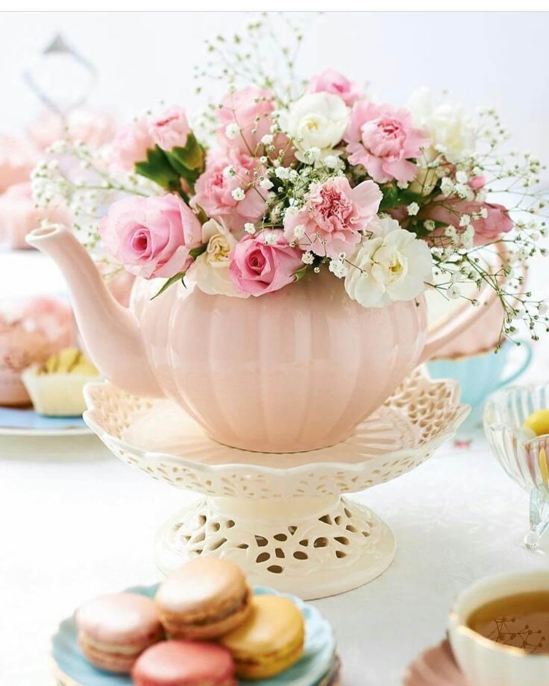 Tea Time Pot of Flowers Centerpiece