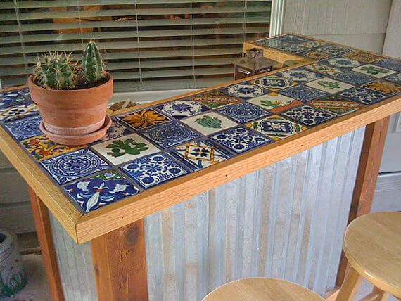 32 best diy outdoor bar ideas and designs for 2018 tile toped bar with a midwestern feel diy solutioingenieria Gallery