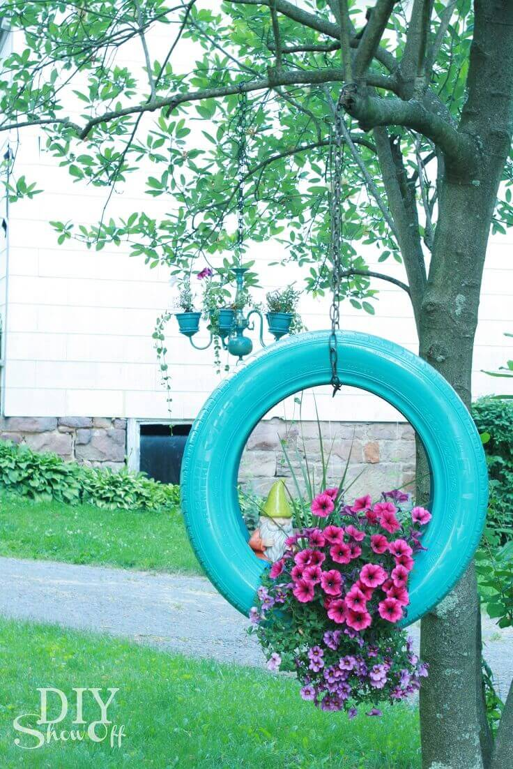 Creative Tire Swing Hanging Planter