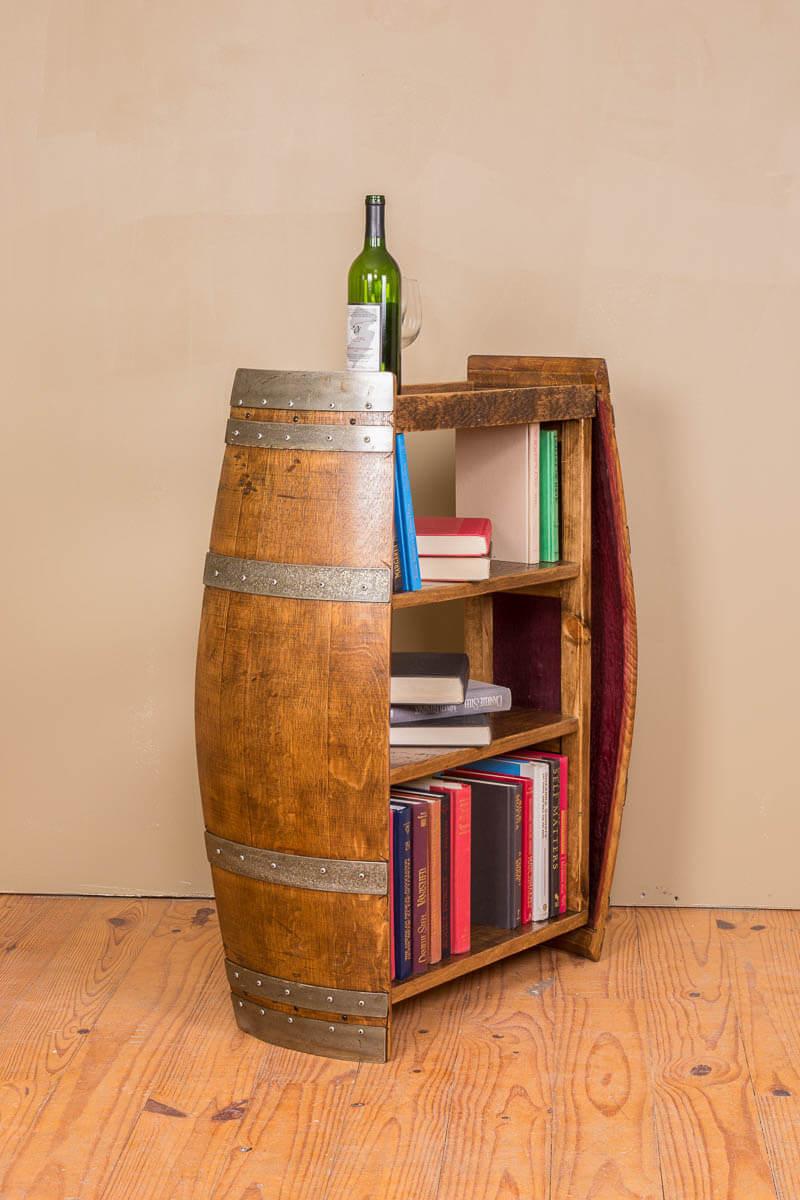 Barrel-To-Book Freestanding Shelf