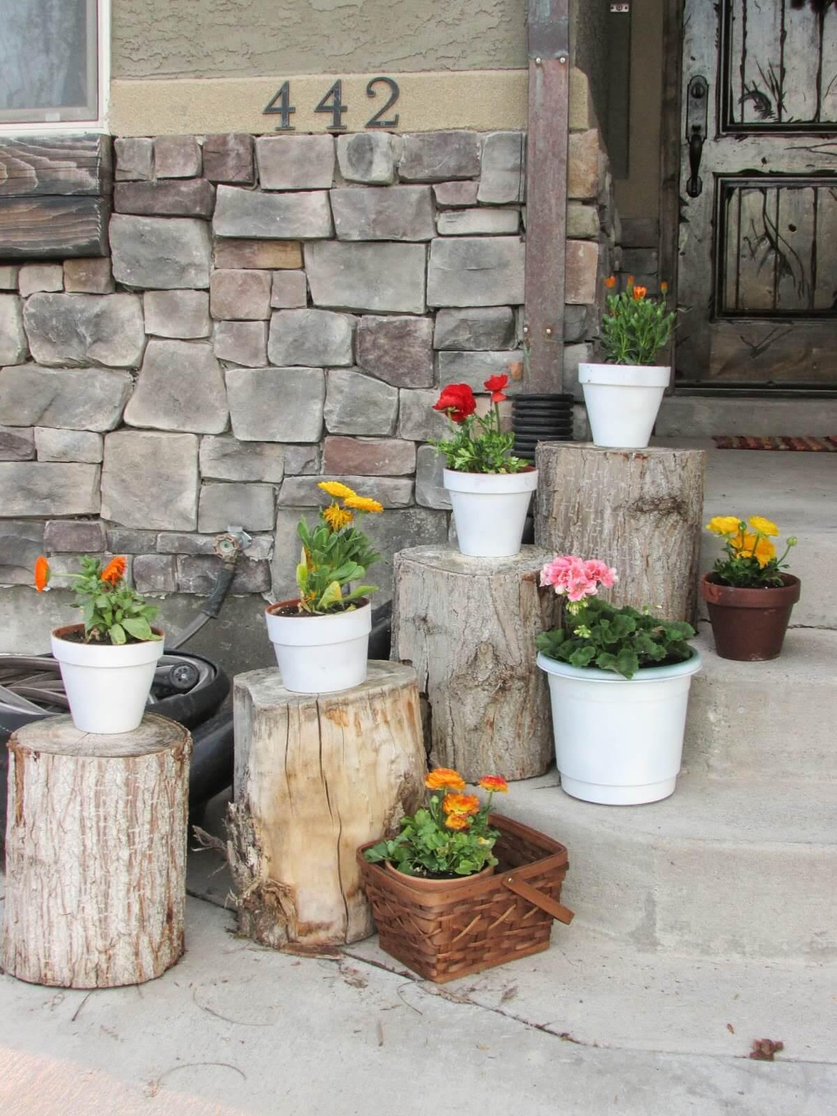 Rustic Cut Log Planter Pedestals