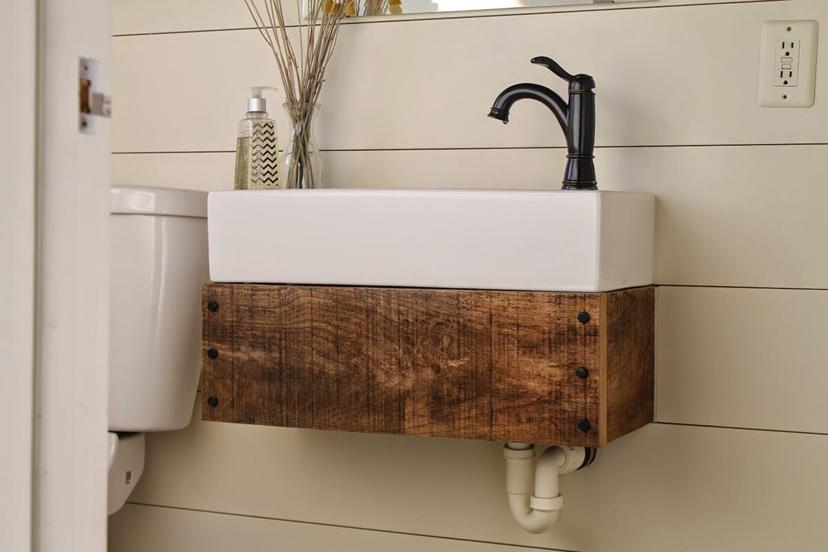 34 diy reclaimed wood projects ideas and designs for 2018 for Floating bathroom vanity brackets