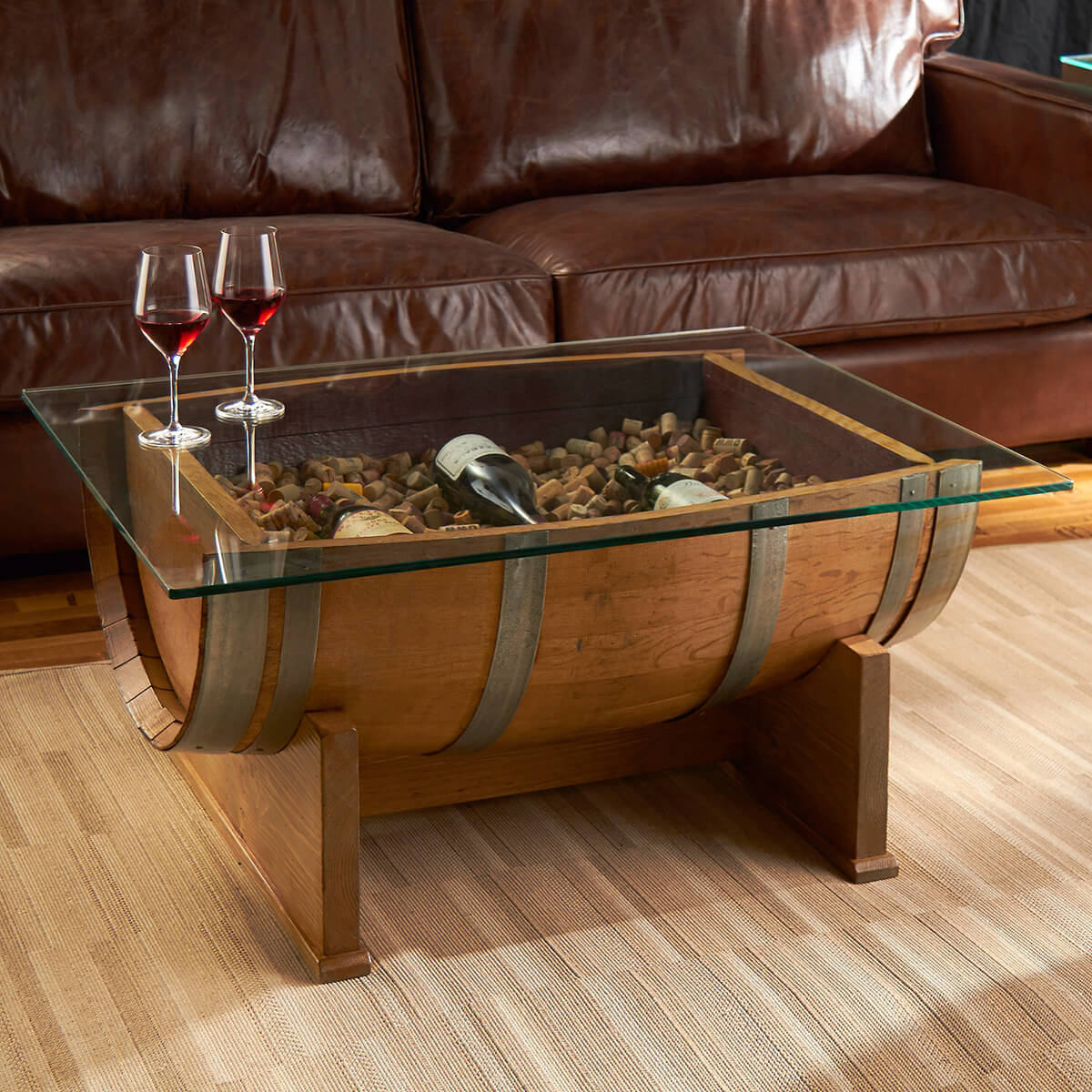 Mountain Manse Glass Top Barrel Table