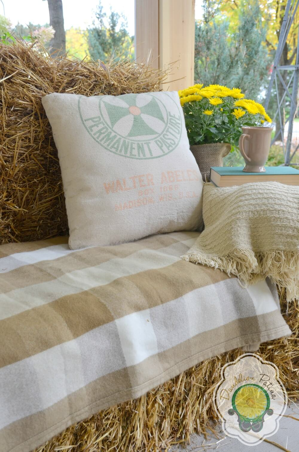 Cozy Haystack Stuffed Porch Sofa & Natural Throw