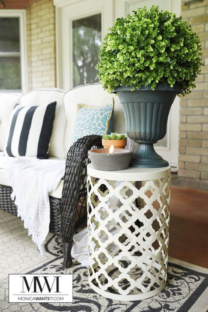 Elegant White Metal Porch Side Table