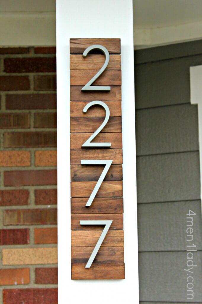 Classy Wood Tiled Address Display