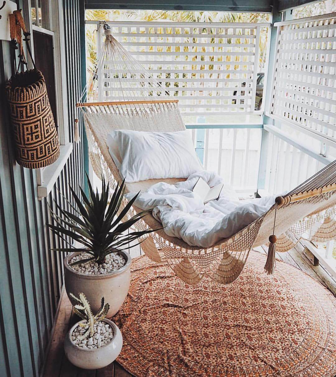Cozy Summertime Bohemian Porch Hammock