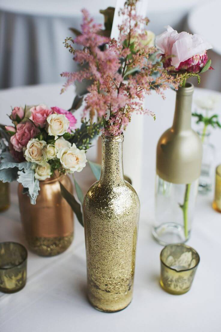 Nostalgic Gold and Glittered Bottle Vases