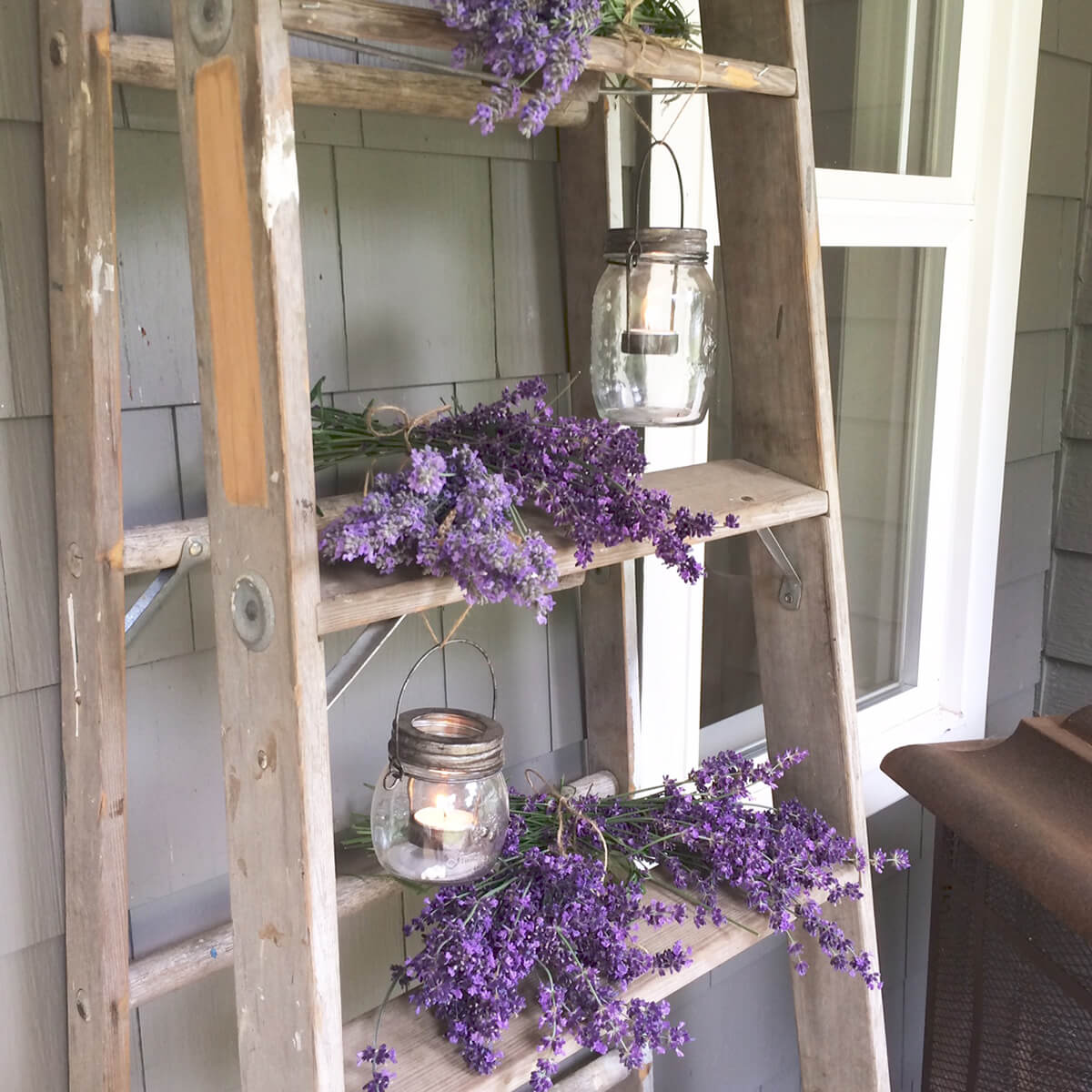 Lavender Province Stripped Ladder With Mason Lanterns