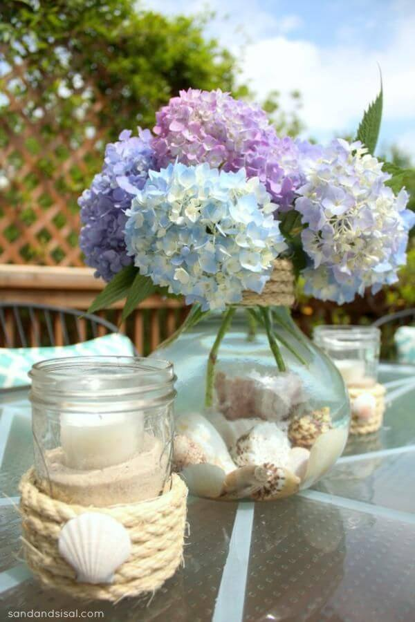 Cottage by the Shore Inspired Hydrangeas and Seashells Decor