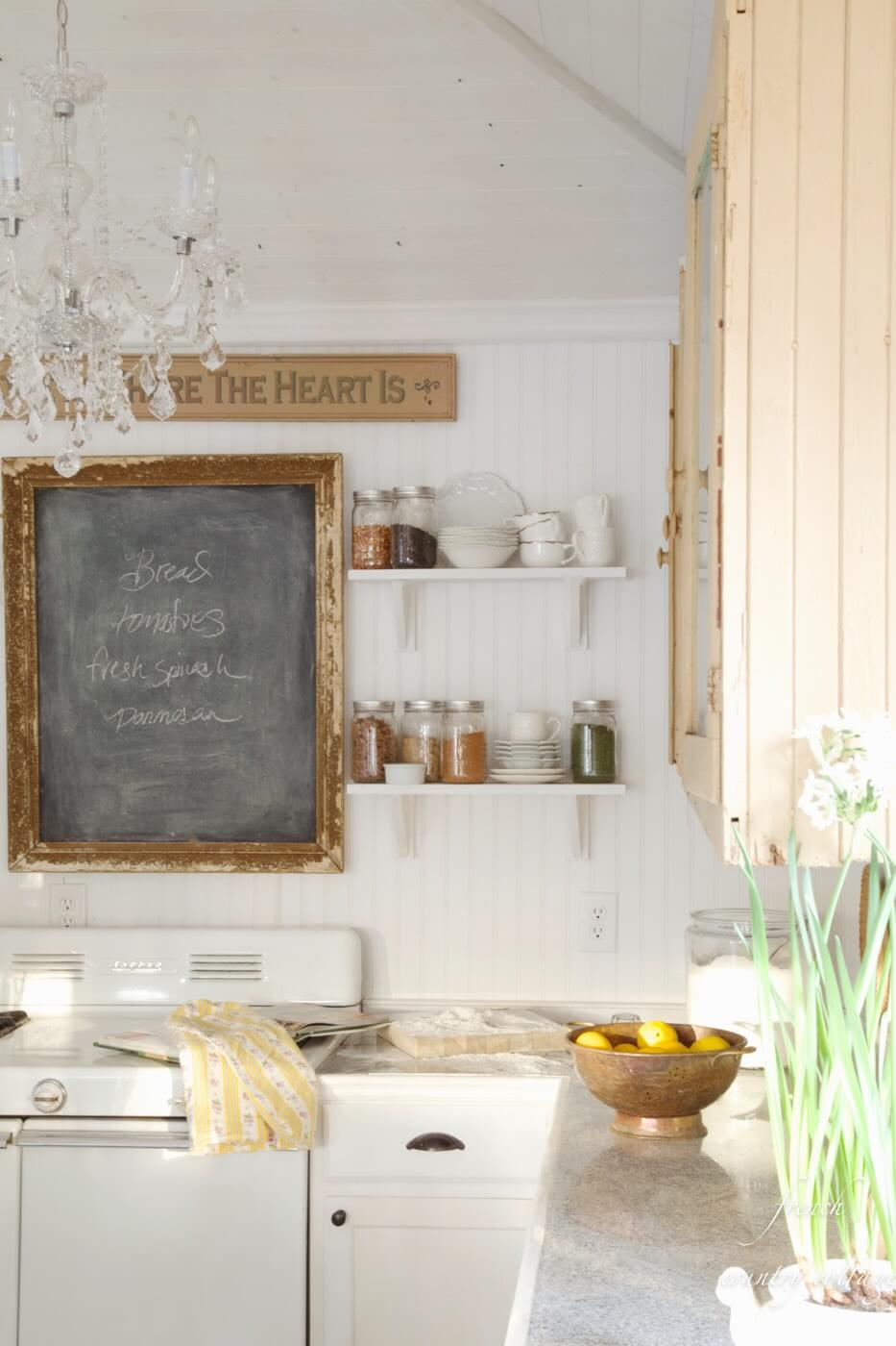 Eclectic French Kitchen with Rustic Chalkboard Sign