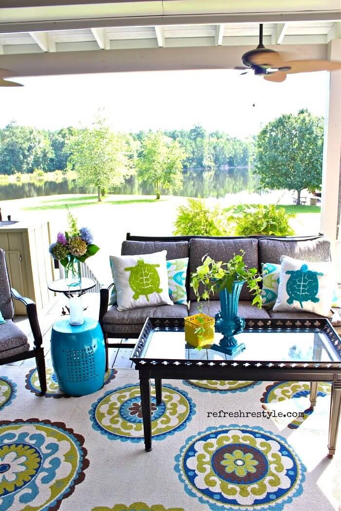 Turquoise and Green Modern Porch Design