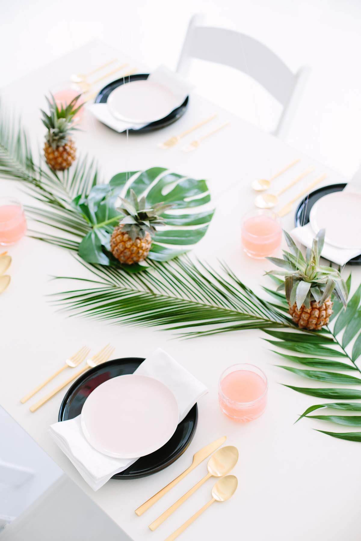 Palm Leaves and Mini Pineapple Table Decorations