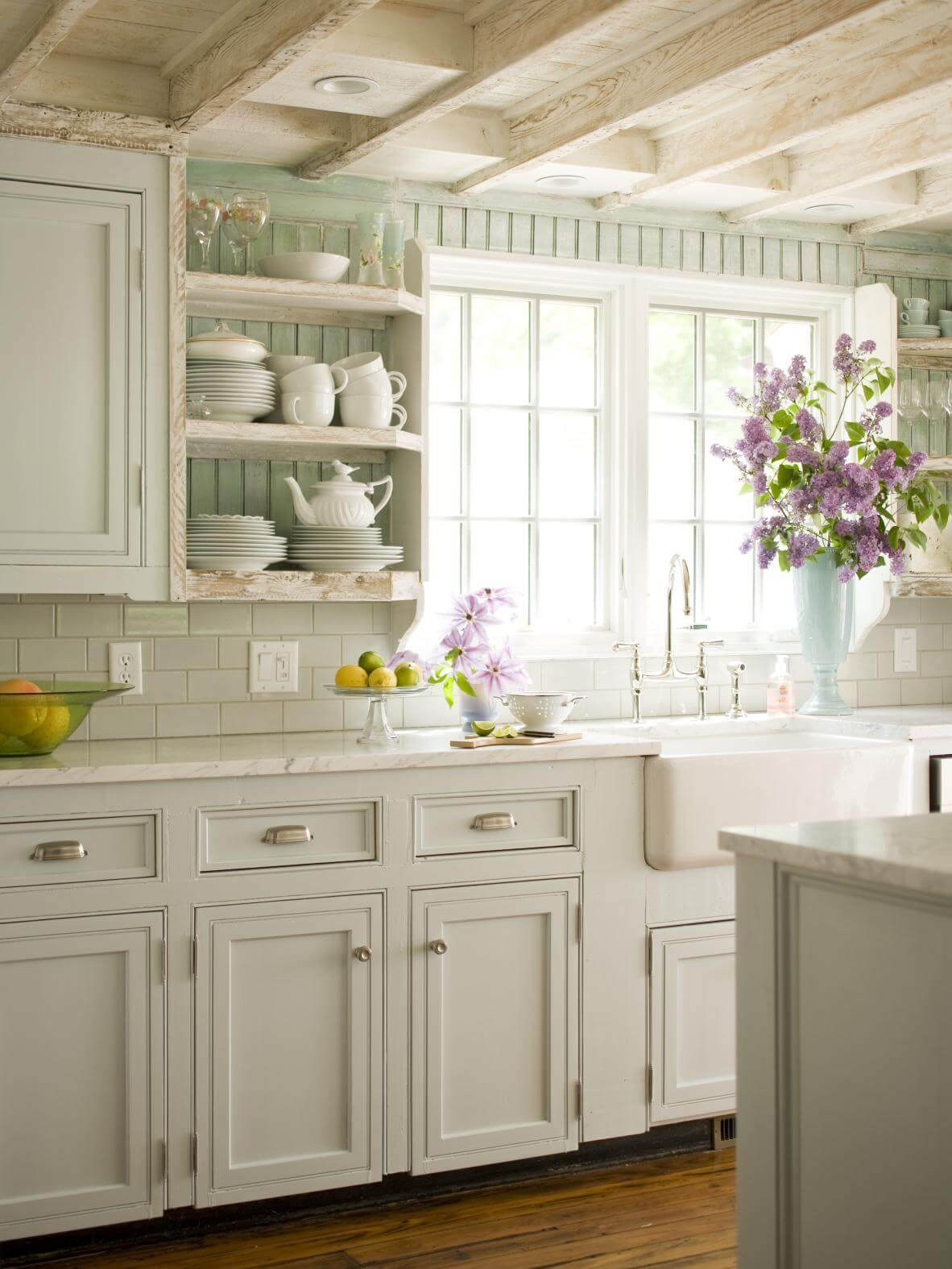 Beautiful Mint And White French Kitchen
