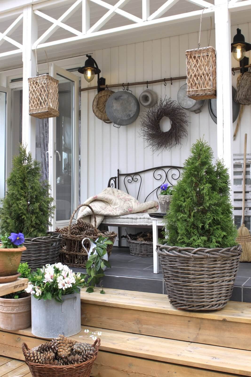 A Walk In The Woods: Rustic Wicker & Pinecone Porch Decor