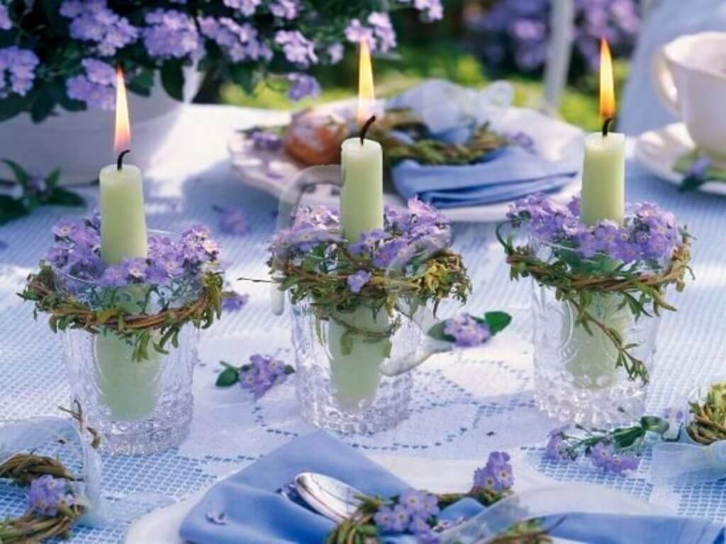 Sweet Mini Flower Wreathed Candle Holders