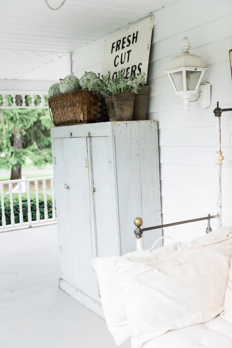 Whitewashed Wooden Porch Cabinet & Sign