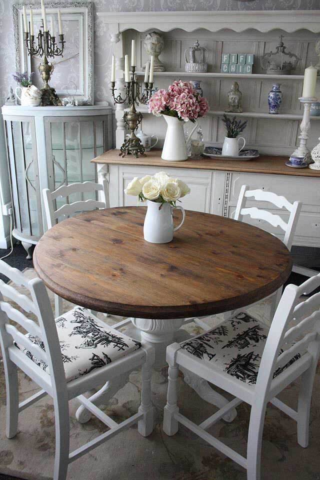 Informal Round Wooden Dining Table