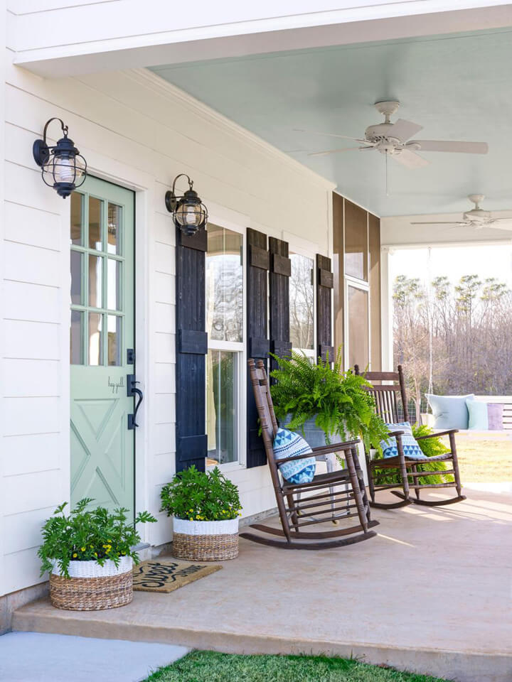 Nashville Basics Wooden Rockers & Entryway Basket Planters
