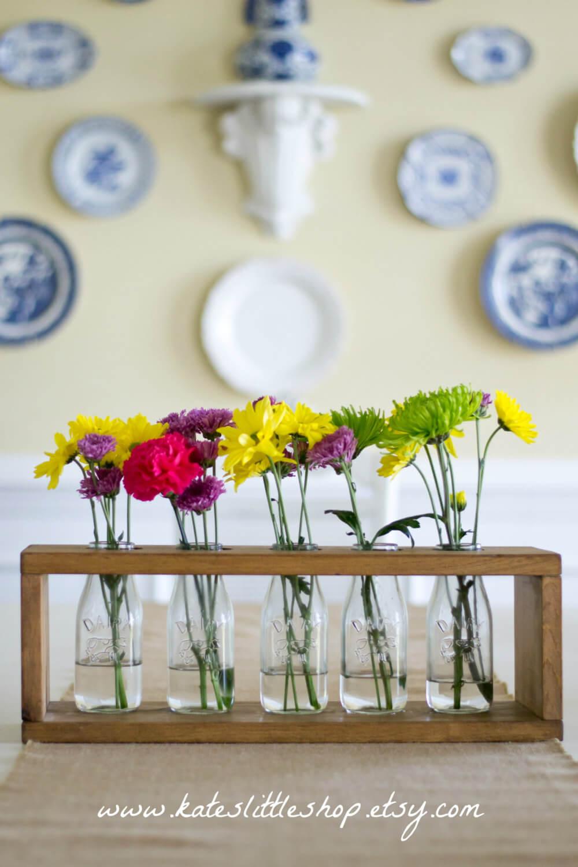 Milk Bottle Flower Vases in a Wood Box