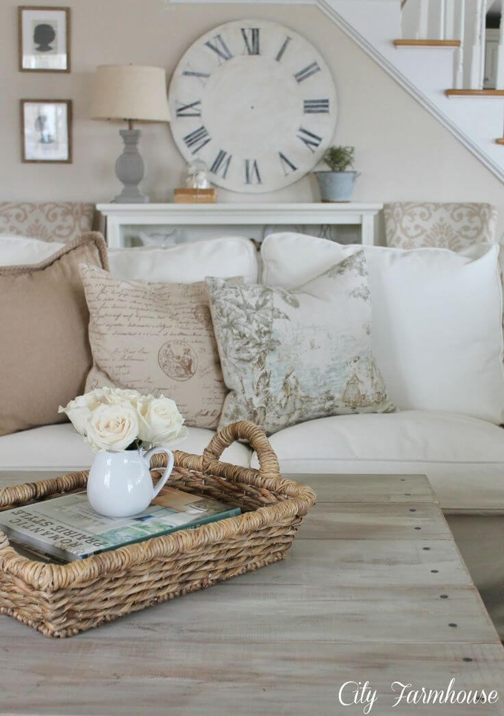 White Linen Couch and Barnwood Coffee Table