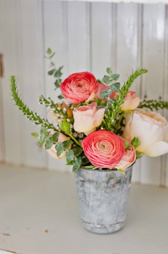 Shabby Chic Inspired Pail Rose Vases