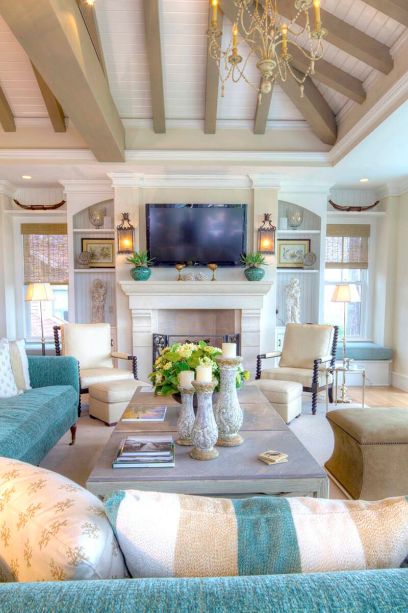 Family Room With Sand and Turquoise Accents