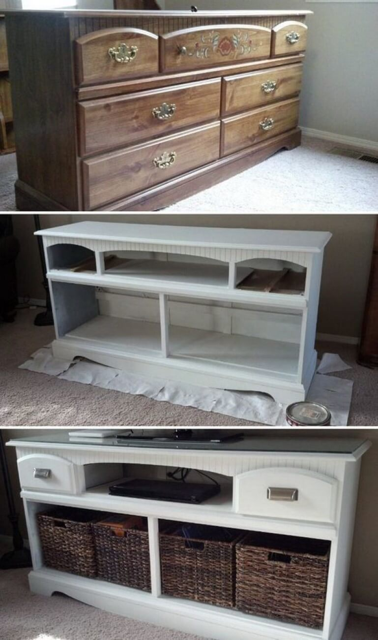 Repainted and Refreshed White Bureau