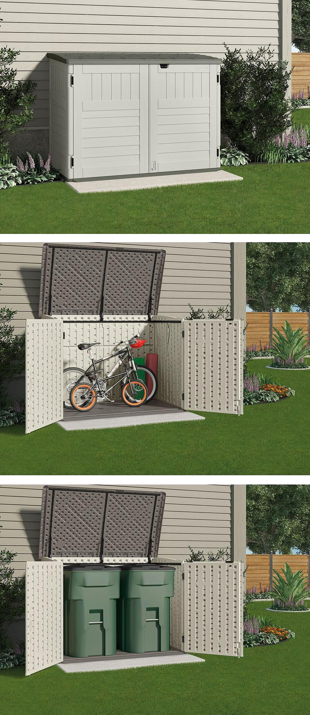 Covered, Two Door Bike And Trash Friendly Storage Unit