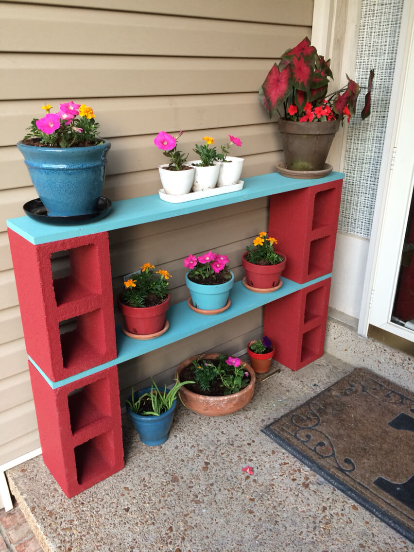 Colorful Cinder Block Plant Shelf