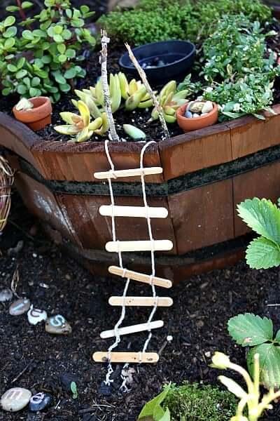 Wooden Planter Fairy Garden with Ladder