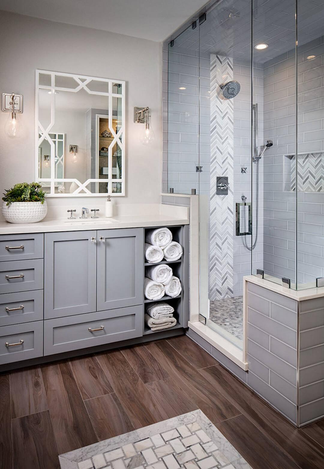 clean and bright gray and white bathroom