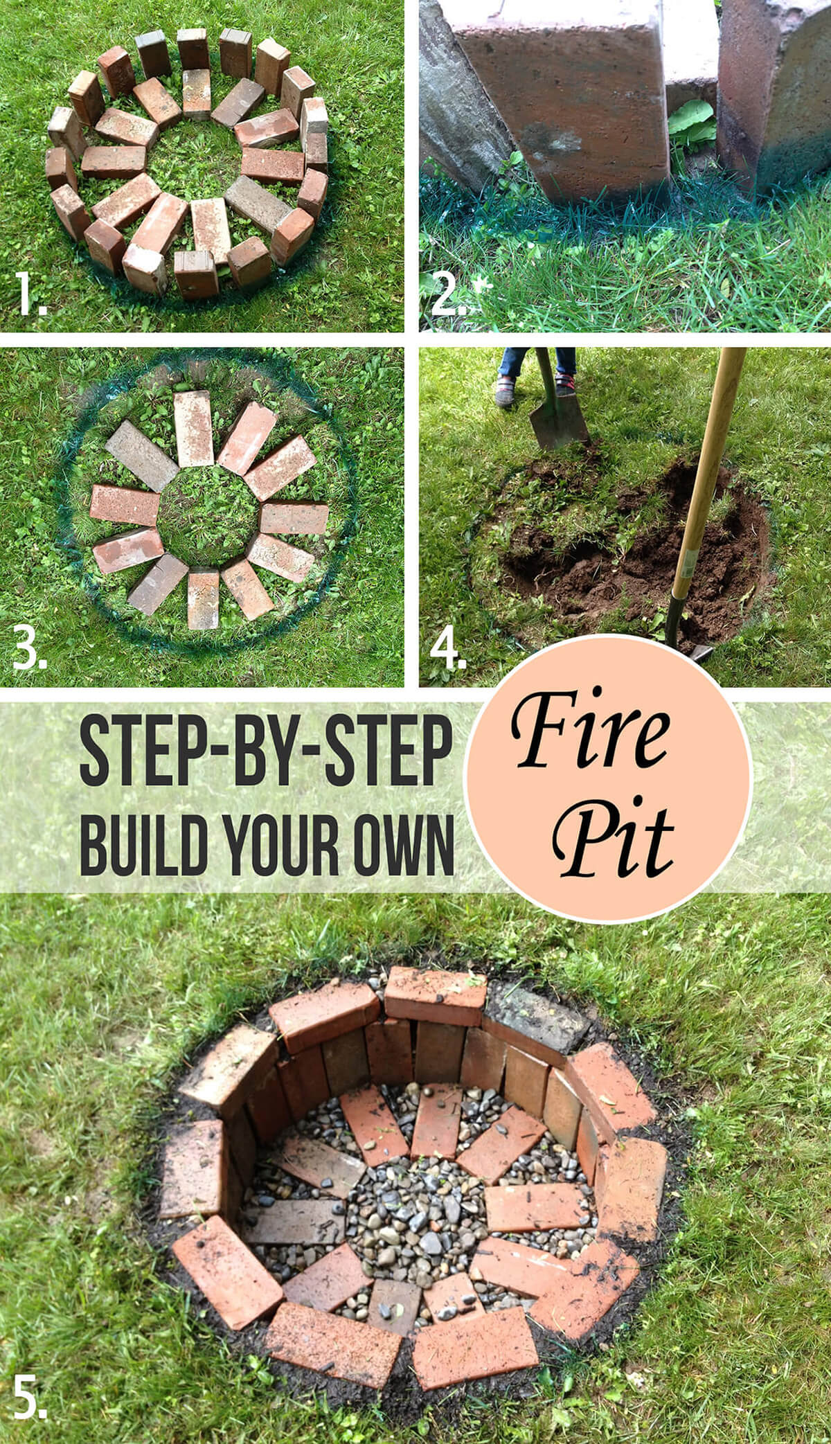 Easy In-Ground DIY Brick Fire Pit