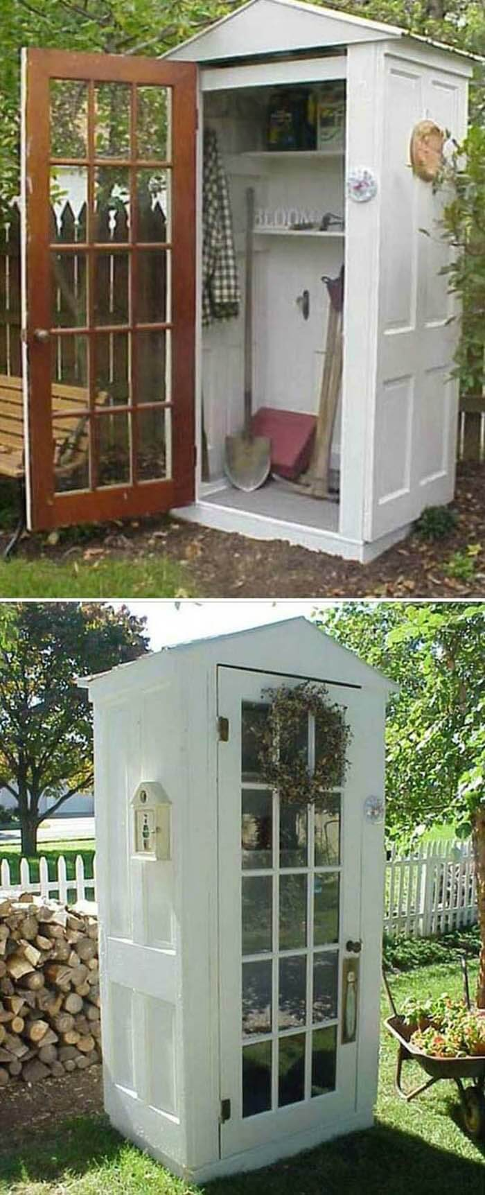 A Whimsical, Booth-Like, Glass Door Storage Shed