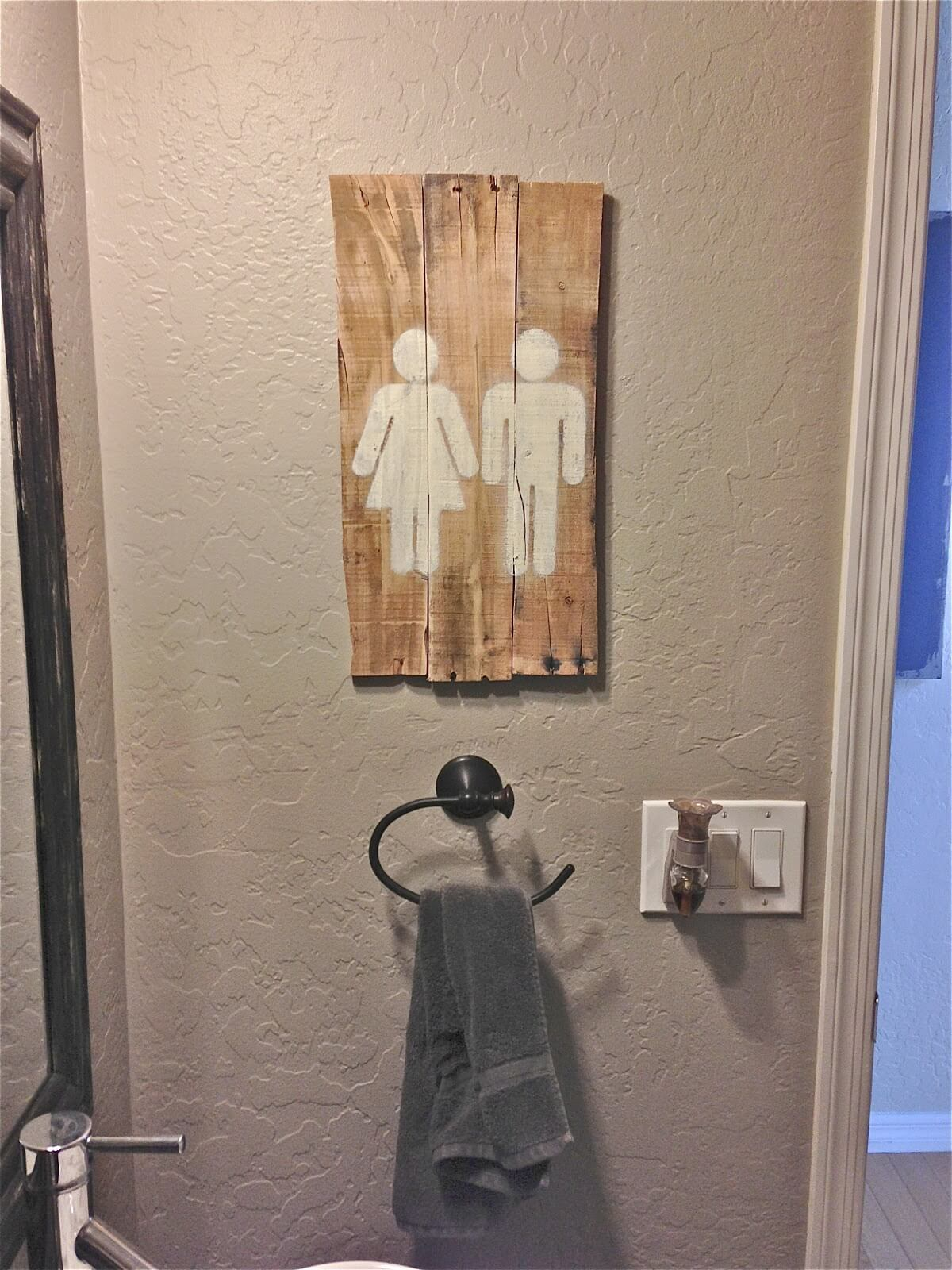 His and Hers Handmade Bathroom Sign