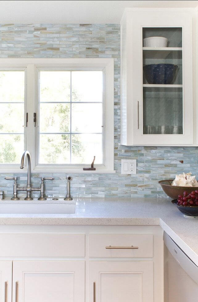 Modern Kitchen with a Seaside-Inspired Backsplash